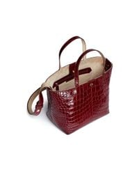 Elizabeth and James Red 'eloise' Croc Embossed Leather Tote
