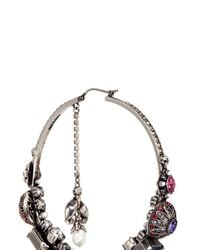 Alexander McQueen - Metallic Swarovski Crystal Natural Pearl Creole Earrings - Lyst