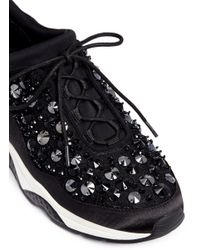 Ash Black Muse Beads' Embellished Satin And Lace Sneakers