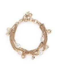 Alexander McQueen | Metallic Swarovski Crystal Skull And Pearl Bracelet | Lyst