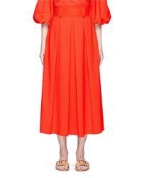 Tibi   Red 'agathe' High Waist Pleated Midi Skirt   Lyst