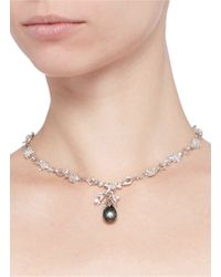 Heting - Metallic 'dewdrop' Pearl Flower Bud Sapphire 18k White Gold Necklace - Lyst