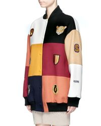 Stella McCartney Multicolor 'sabine' Embroidered Badge Colourblock Varsity Jacket