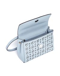 Michael Kors Blue 'ava' Extra Small Perforated Leather Crossbody Bag