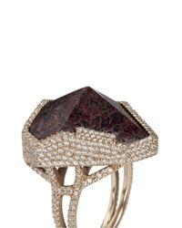 Monique Péan - Metallic Diamond Pavé Fossilised Dinosaur Bone 18k Recycled Gold Cocktail Ring - Lyst