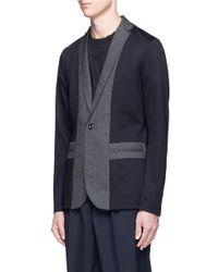 Kolor - Blue Colourblock Cotton Jersey Soft Blazer for Men - Lyst