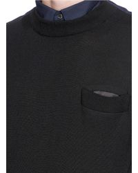 Sacai - Multicolor Contrast Collar Wool Sweater for Men - Lyst