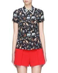 Alice + Olivia Black 'willa' Ruffle Collar Animal Print Silk Top
