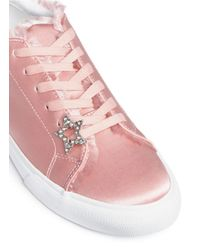 Pedder Red - Pink 'jody' Star Pin Frayed Satin Sneakers - Lyst
