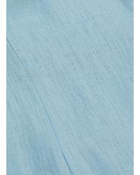 Staud Blue 'lychee' Linen Peplum Dress