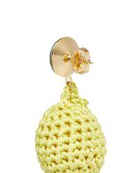 Venessa Arizaga - Yellow 'lemonade' Rhinestone Crochet Fruit Drop Earrings - Lyst