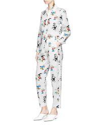 Stella McCartney Gray Cat Print Silk Trousers