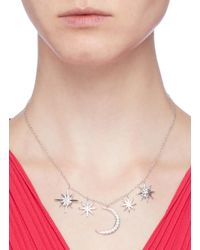 CZ by Kenneth Jay Lane Metallic Cubic Zirconia Moon And Starburst Pendant Necklace