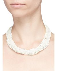 Kenneth Jay Lane - White Beaded Multi Strand Necklace - Lyst