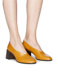 Acne Yellow 'sully' Calfskin Leather Pumps