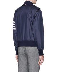 Thom Browne Blue Stripe Sleeve Ripstop Bomber Jacket for men
