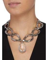 Alexander McQueen Metallic Faceted Pendant Chain Necklace