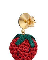 Venessa Arizaga - Red 'berry Cute' Rhinestone Crochet Strawberry Drop Earrings - Lyst