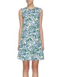 Victoria, Victoria Beckham Blue Ruffle Hem Abstract Floral Print Sleeveless Dress
