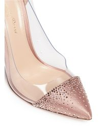 Gianvito Rossi - Multicolor 'crystal Plexi' Embellished Clear Pvc Satin Pumps - Lyst