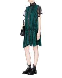 Sacai - Green Lace Trim Plissé Pleated Sateen Dress - Lyst