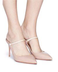 Aquazzura Pink 'nolita 85' Beaded Leather Pumps