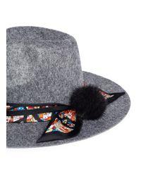 Venna Gray House Print Scarf Wool Felt Fedora Hat