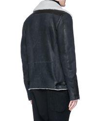 The Viridi-anne | Black Colourblock Sheepskin Shearling Bomber Jacket for Men | Lyst