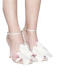 Jimmy Choo White 'aurelia 100' Orchid Appliqué Satin Sandals