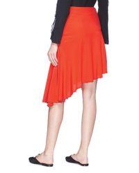 Sonia Rykiel Red Asymmetric Faux Pearl Hem Silk Crepe Skirt