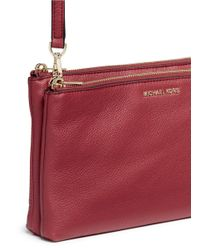 Michael Kors Red 'adele' Double Zip Leather Crossbody Bag