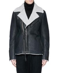 The Viridi-anne - Black Colourblock Sheepskin Shearling Bomber Jacket for Men - Lyst