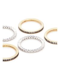 CZ by Kenneth Jay Lane - Metallic Cubic Zirconia Scalloped 5-ring Set - Lyst