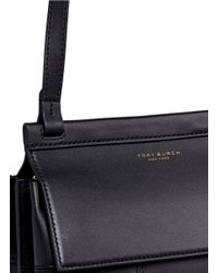 Tory Burch Black 'block-t' Patchwork Leather Crossbody Bag