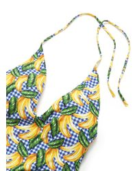 Onia Blue 'nina' Banana Print Gingham Check One-piece Swimsuit for men