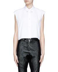 Helmut Lang White Safety Pin Collar Cropped Sleeveless Poplin Shirt