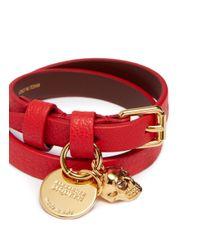 Alexander McQueen - Red Skull Charm Double Wrap Leather Bracelet - Lyst