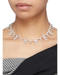 HEFANG Metallic 'classical Lace' Cubic Zirconia Silver Necklace