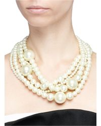 Kenneth Jay Lane - White Five Row Glass Pearl Necklace - Lyst