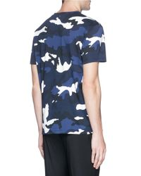 Valentino Blue Camouflage Print T-shirt for men