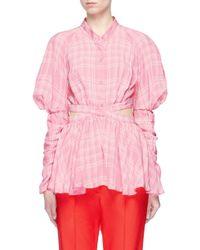 Rosie Assoulin Pink Check Plaid Cutout Waist Shirt