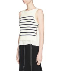 3.1 Phillip Lim - Multicolor 'sailor' Crepe Underlay Stripe Merino Wool Blend Sweater - Lyst
