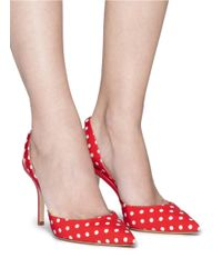 Paul Andrew Red 'passion' Polka Dot Print Grosgrain Slingback Pumps