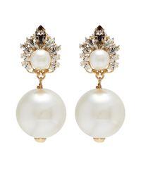 Anton Heunis - Metallic Swarovski Crystal Pearl Drop Earrings - Lyst