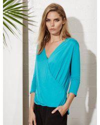 Lanston | Blue Surplice 3/4 Sleeve Top | Lyst