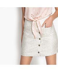 Suncoo - Faune Metallic Buttoned Skirt - Lyst