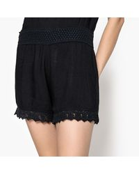 School Rag - Black Plain Dungaree Shorts - Lyst
