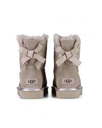 Ugg - Pink Mini Bailey Bow Ii Metallic Sheepskin Ankle Boots - Lyst
