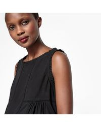 LA REDOUTE - Black Ruffled Blouse With Openwork Detail - Lyst
