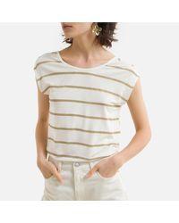 Camiseta a rayas Pieces de color Natural
